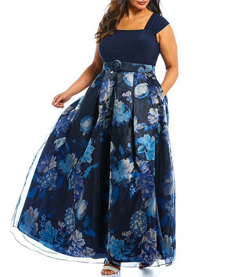 エリザジェイ レディース ワンピース トップス Plus Size Cap Sleeve Floral Print Square Neck Ballgown Navy