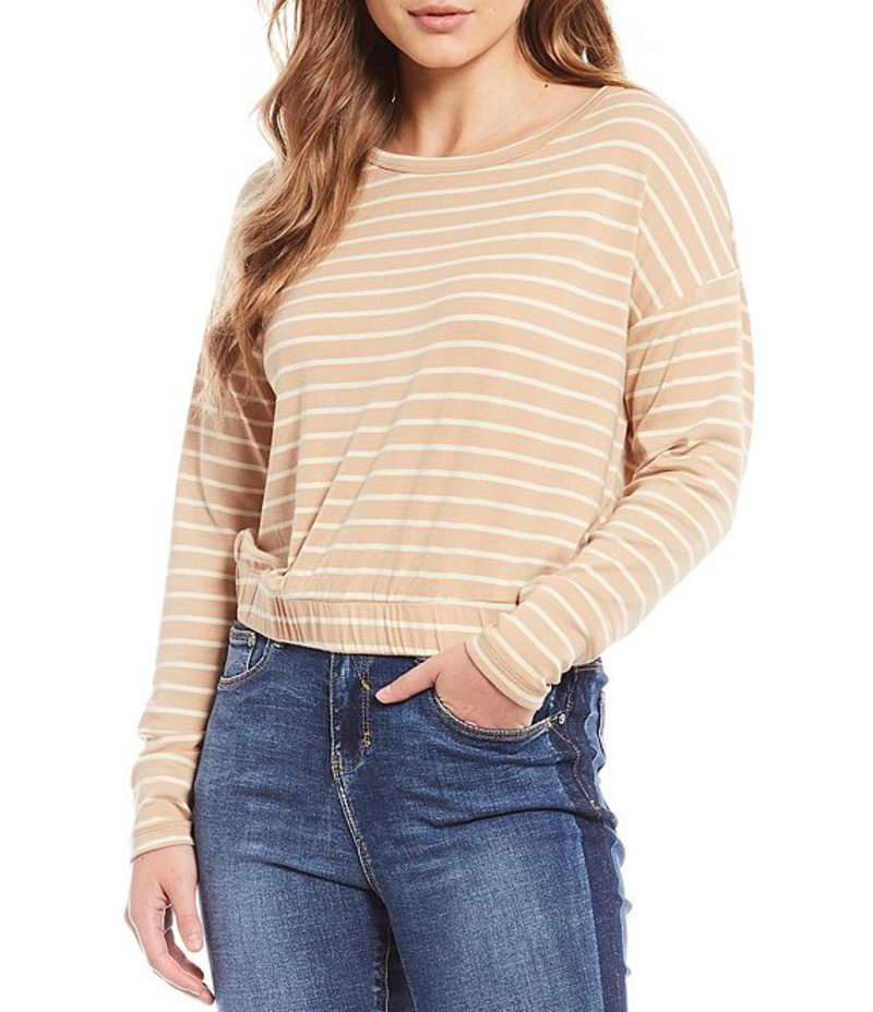エーラブズエー レディース Tシャツ トップス Elastic Waist Long Sleeve Striped Knit Top Nude Stripe