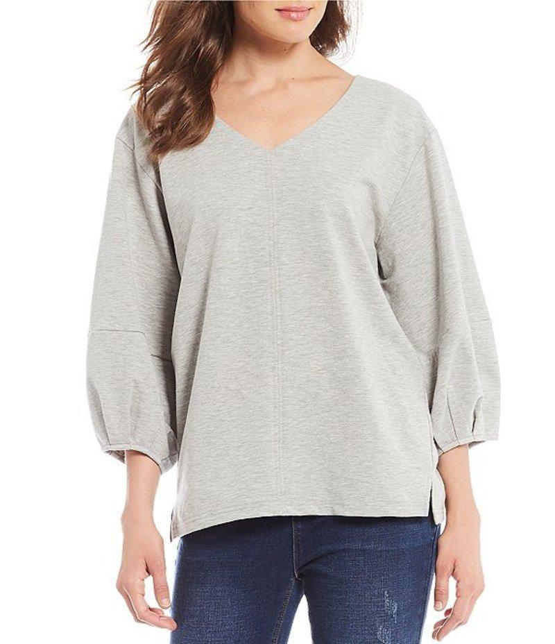 ギブソンアンドラティマー レディース Tシャツ トップス Lantern Pleated Sleeve Knit V-Neck Sweatshirt Heather Grey