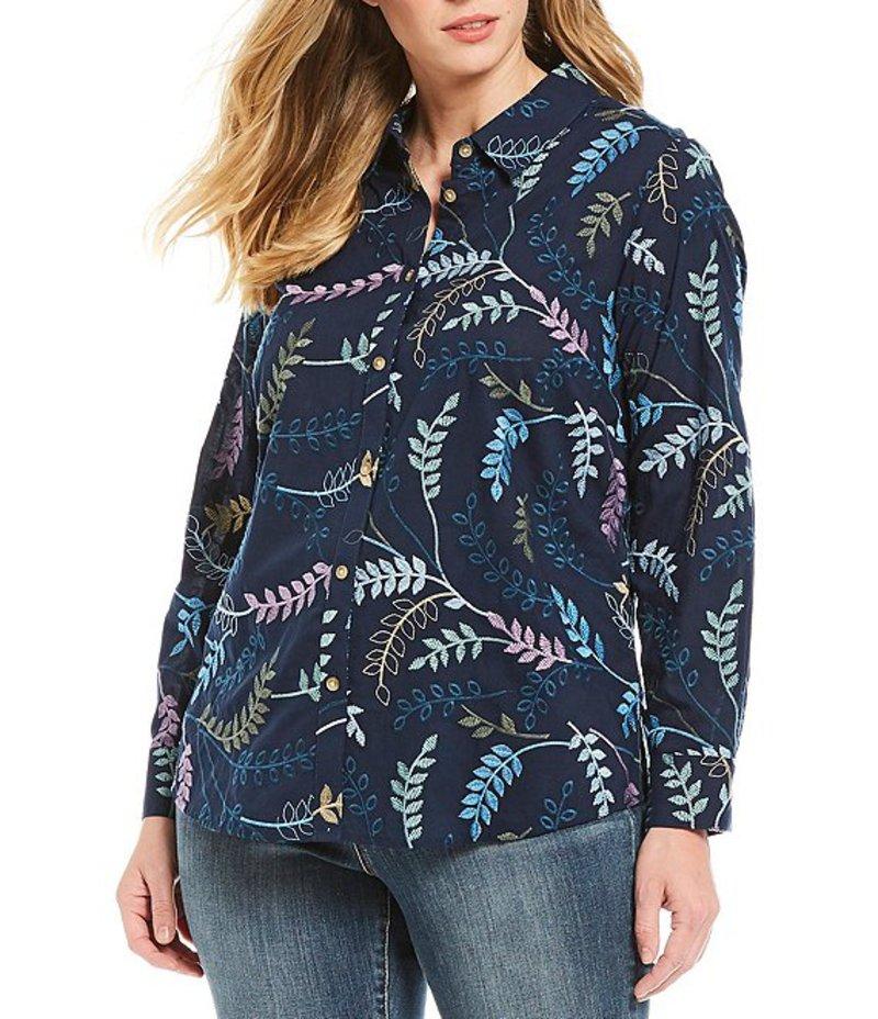 フォックスクラフト レディース シャツ トップス Plus Size Rhea Allover Embroidery Button Front Cotton Shirt Navy