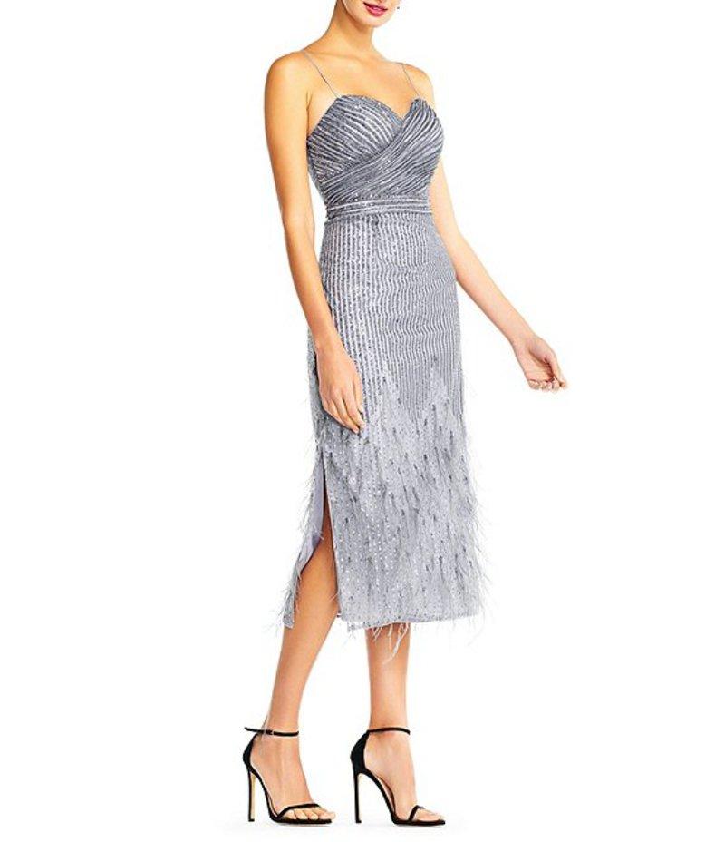 アイダンマットックス レディース ワンピース トップス Sweetheart Neck Sequin Feather Side Slit Midi Dress Silver Grey