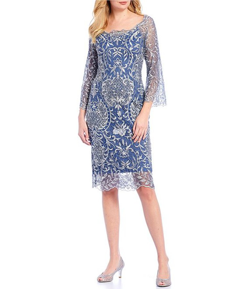 ピサッロナイツ レディース ワンピース トップス Sequin Beaded Embroidered Scallop Hem Sheath Dress Denim