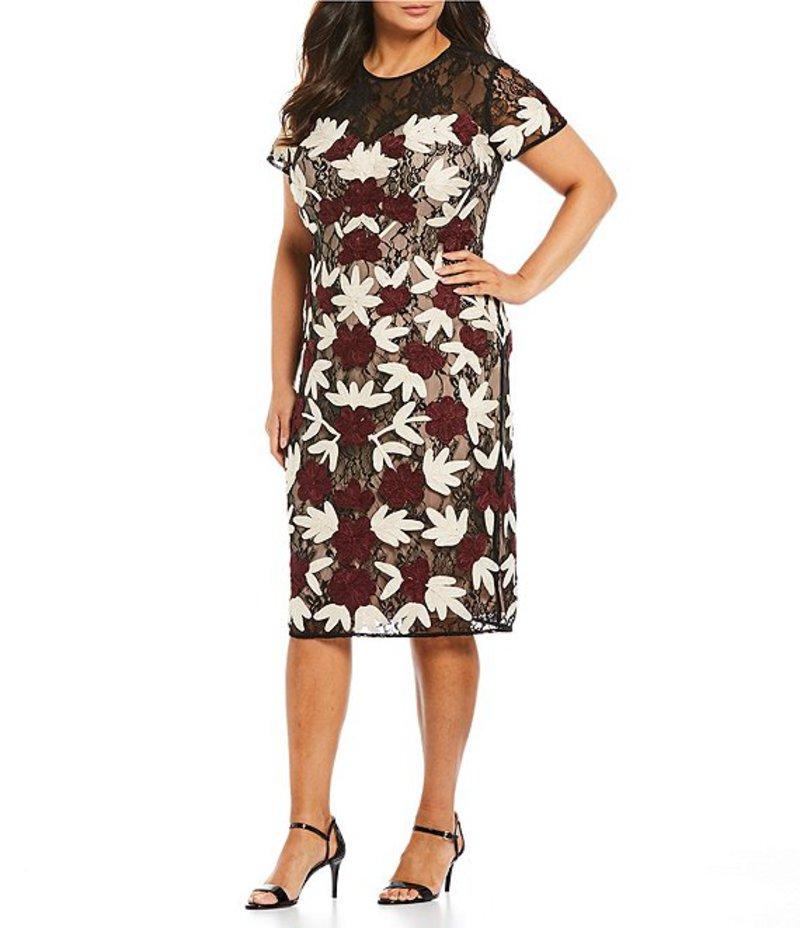 ジェイエスコレクションズ レディース ワンピース トップス Plus Size Floral Soutache Short Sleeve Sheath Dress Cabernet
