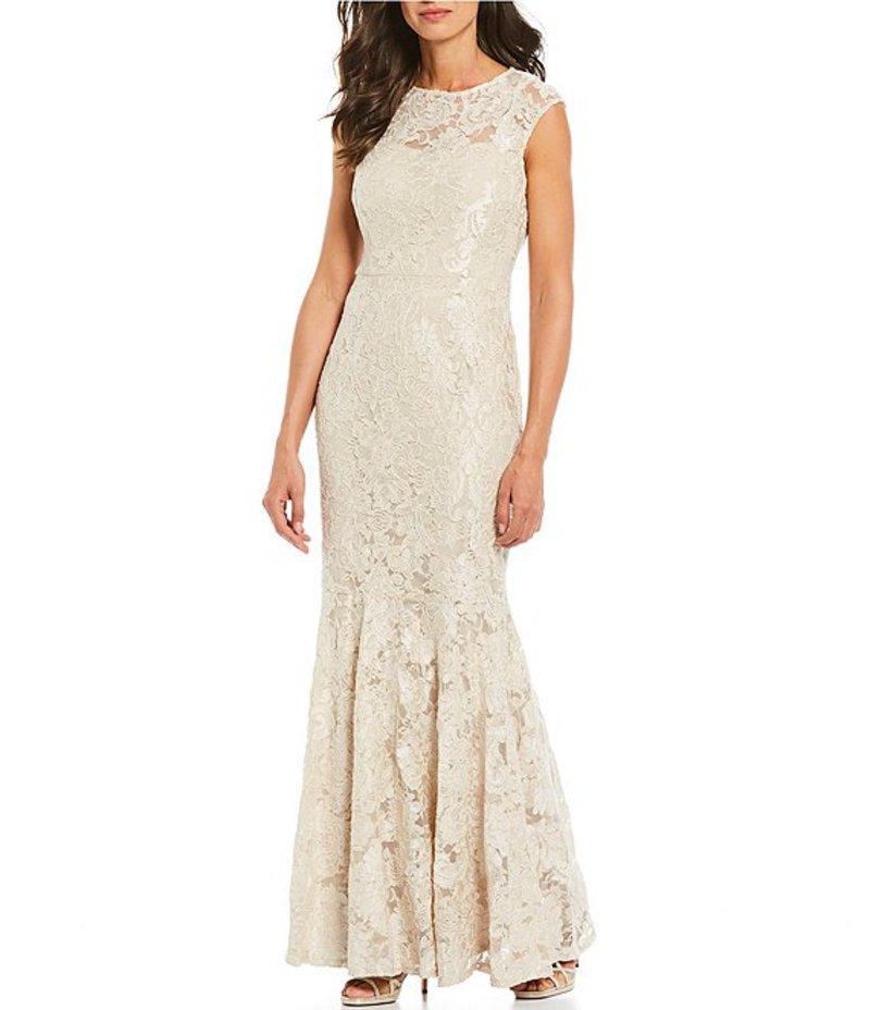 マリナ レディース ワンピース トップス Embroidered Lace Cap Sleeve Gown Champagne