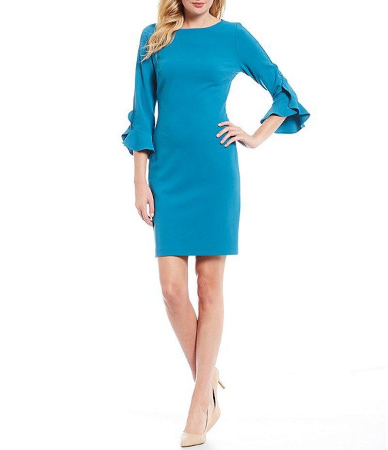 カール ラガーフェルド レディース ワンピース トップス 3/4 Ruffle Tulip Sleeve Crepe Sheath Dress Blue