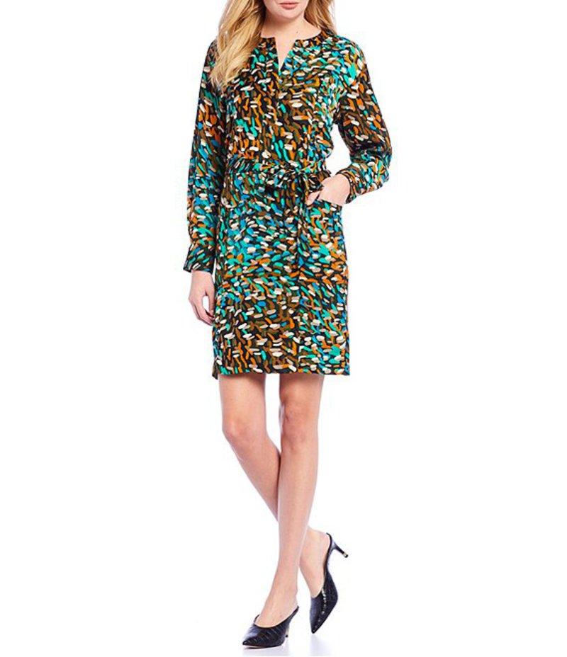 ケネスコール レディース ワンピース トップス Brush Stroke Print Tie Waist Charmeuse Dress Urban Monet