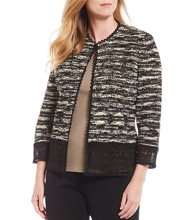 ミンウォン レディース ジャケット・ブルゾン アウター Boucle Knit Lace Hook Front Jacket Black/Cappuccino/Primavera