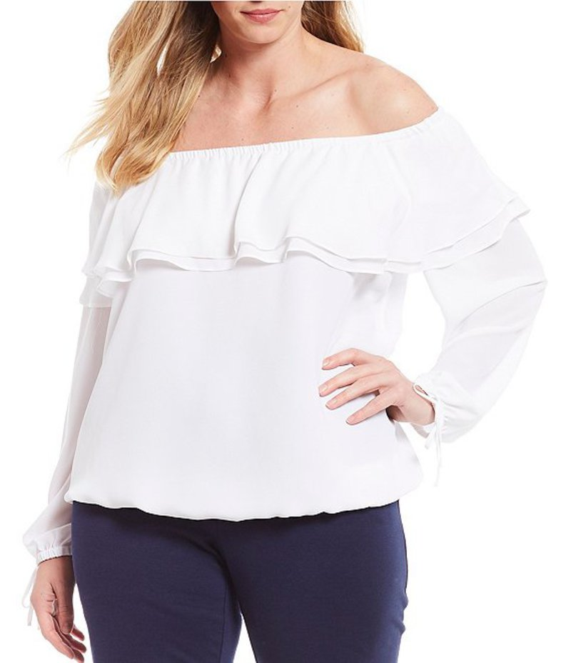 マイケルコース レディース シャツ トップス Plus Size Liquid Crepe Double Layer Ruffle Off-the-Shoulder Top White