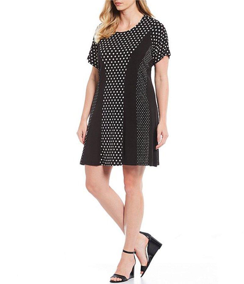 マイケルコース レディース ワンピース トップス Plus Size Mod Dot Combo Print Matte Jersey A-Line Dress Black/Bone