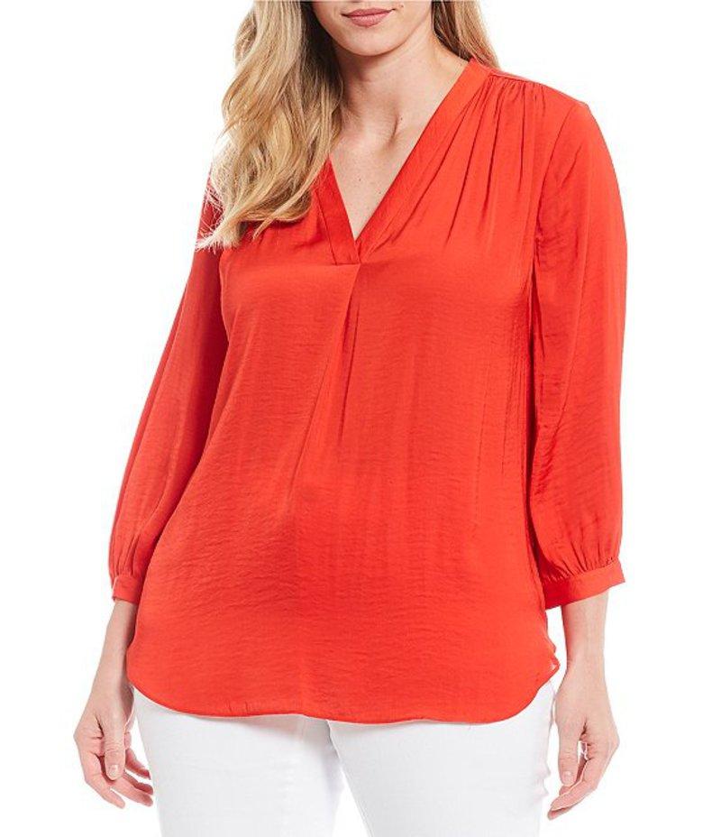 ヴィンスカムート レディース シャツ トップス Plus Size V-Neck Bishop Sleeve Rumple Blouse Crimson Red