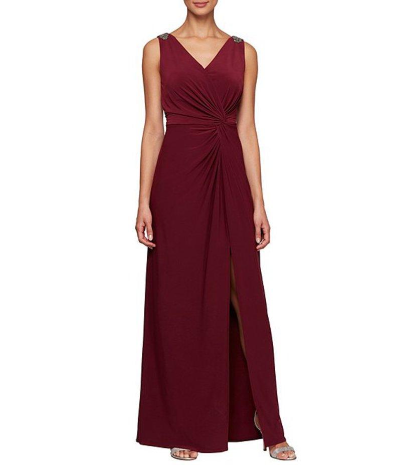 アレックスイブニングス レディース ワンピース トップス Petite Size Matte Jersey Sleeveless Ruched Front Slit Beaded Shoulder Gown Wine