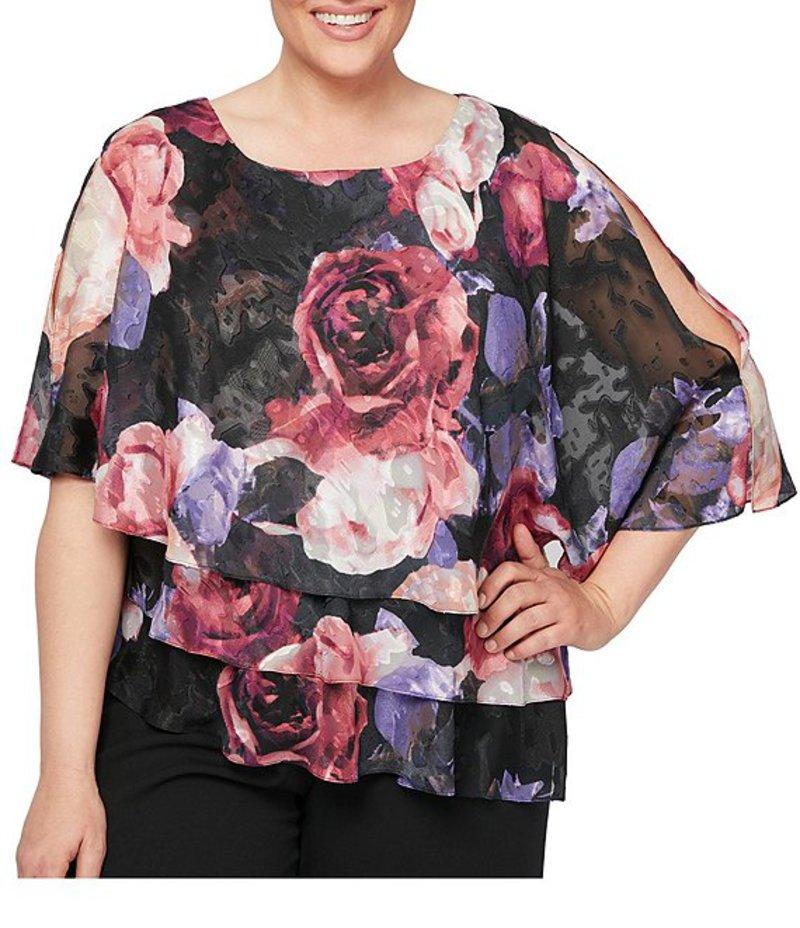 アレックスイブニングス レディース シャツ トップス Plus Size Burnout Floral Print Asymmetric Tiered Blouse Black/Multi