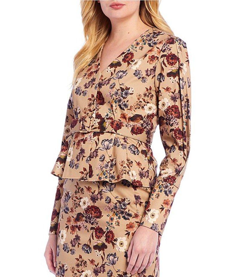 アントニオ メラーニ レディース ジャケット・ブルゾン アウター Cami Floral Printed Belted Peplum Twill Jacket Dawn Sky/Espresso