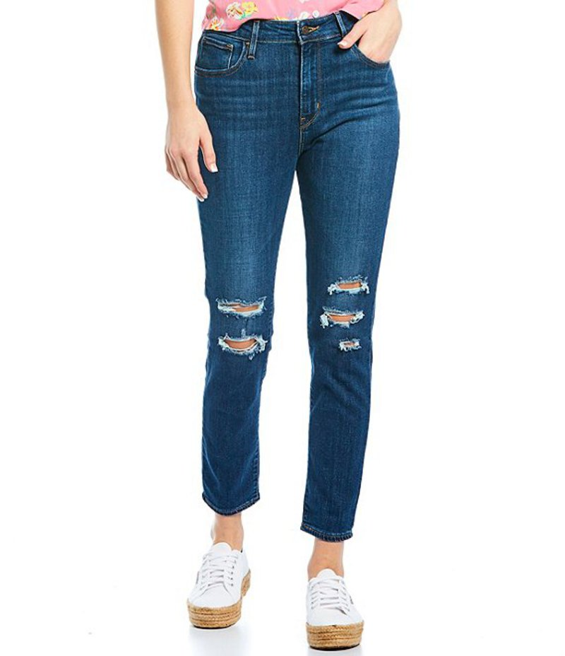 リーバイス レディース デニムパンツ ボトムス 721 Destructed High Rise Ankle Skinny Jeans Carbon Water Blue