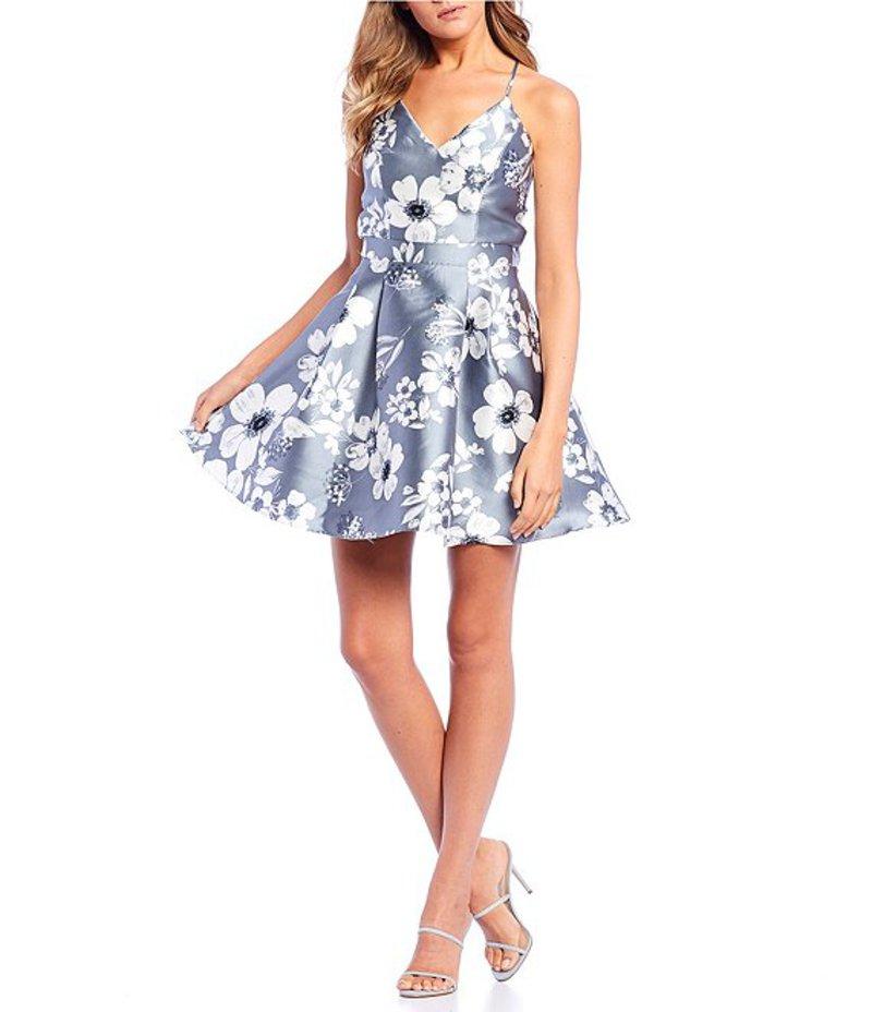 ビーダーリン レディース ワンピース トップス Sleeveless Lace-Back Floral Print Fit & Flare Dress Silver