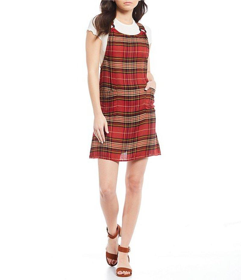 アンジー レディース ワンピース トップス O-Ring Plaid Jumper Dress Red