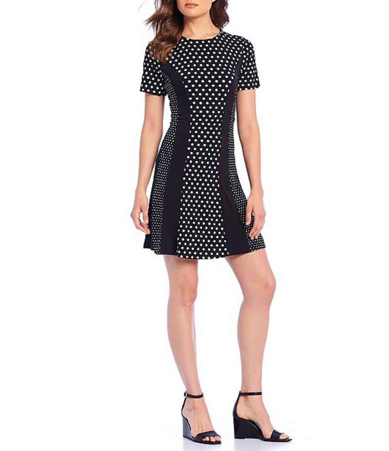 マイケルコース レディース ワンピース トップス Mod Dot Combo Print Matte Jersey A-Line Dress Black/Bone