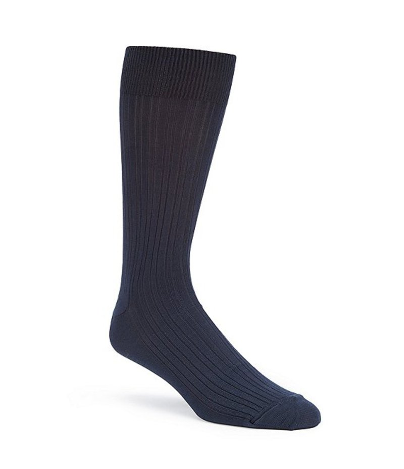 ラウンドトゥリーアンドヨーク メンズ 靴下 アンダーウェア Gold Label Roundtree & Yorke Big & Tall Solid Crew Dress Socks 3-Pack Navy