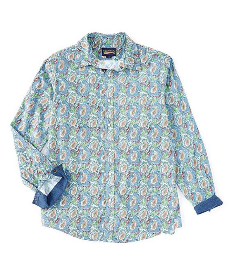 ダニエル クレミュ メンズ シャツ トップス Jeans Paisley Print Snap-Front Long-Sleeve Woven Shirt Blue
