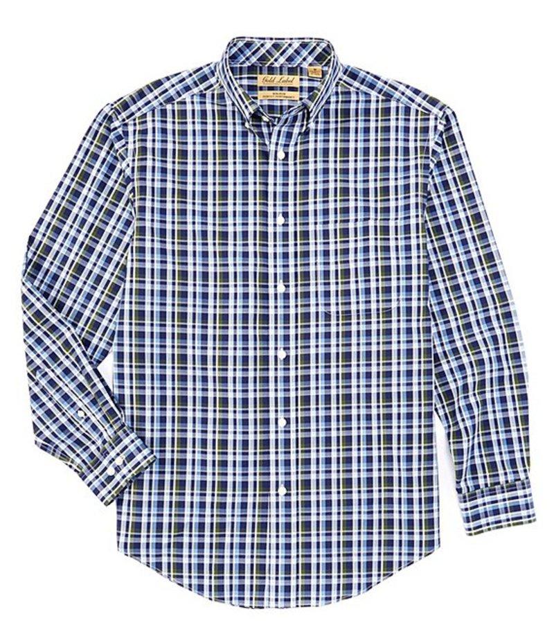 ラウンドトゥリーアンドヨーク メンズ シャツ トップス Gold Label Roundtree & Yorke Perfect Performance Long-Sleeve Plaid Sportshirt Ink Blue