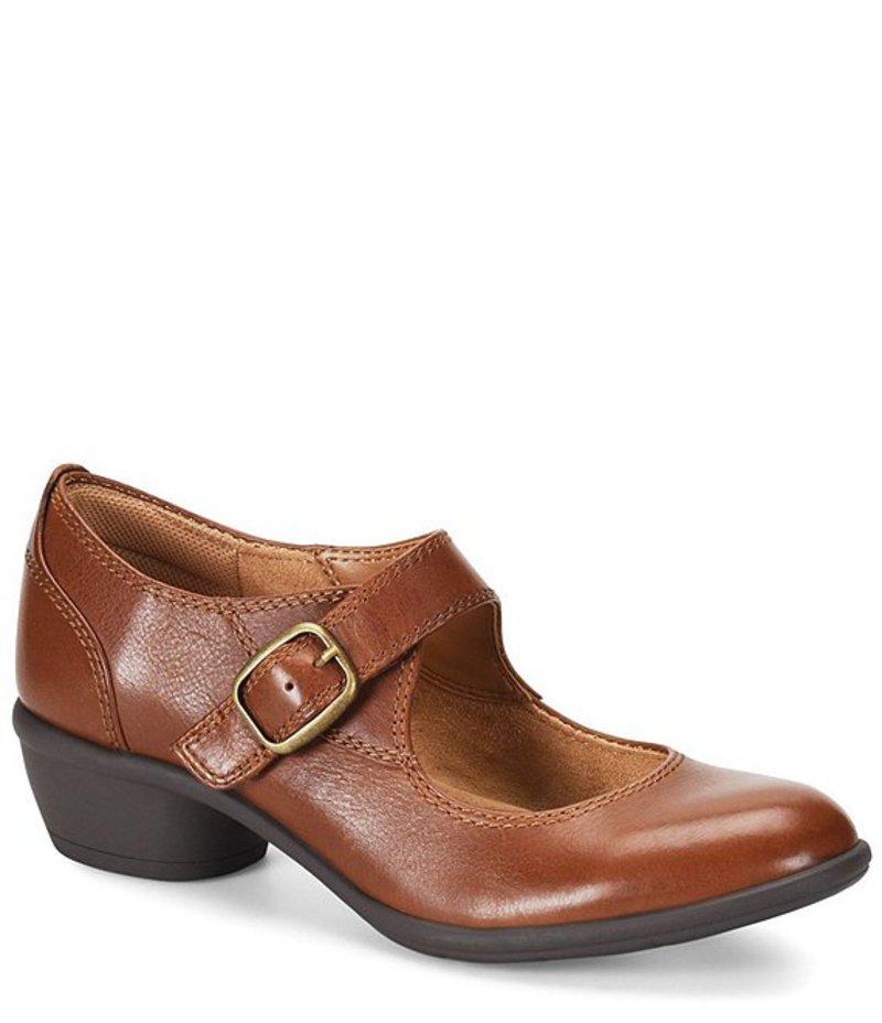 コンフォーティバ レディース ヒール シューズ Quanita Leather Block Heel Mary Janes Cognac