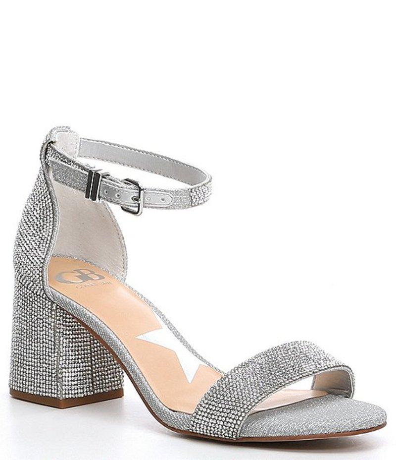 ジービー レディース サンダル シューズ Bling-Out Rhinestone Block Heel Sandals Silver
