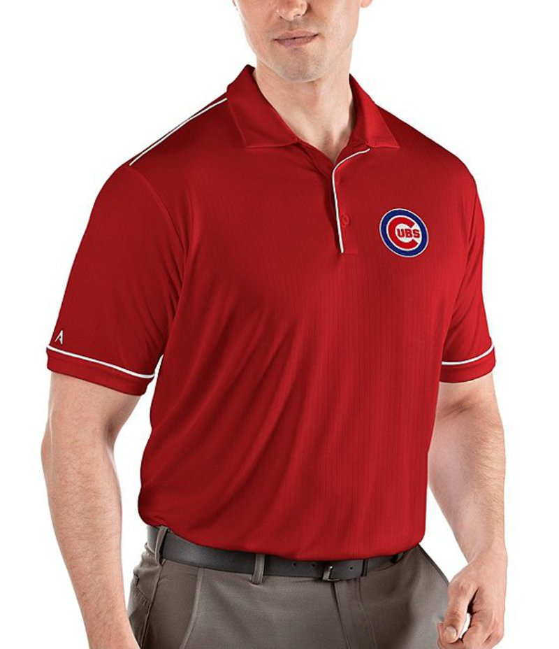 アンティグア メンズ シャツ トップス MLB National League Salute Short-Sleeve Polo Shirt Chicago Cubs Dark Red