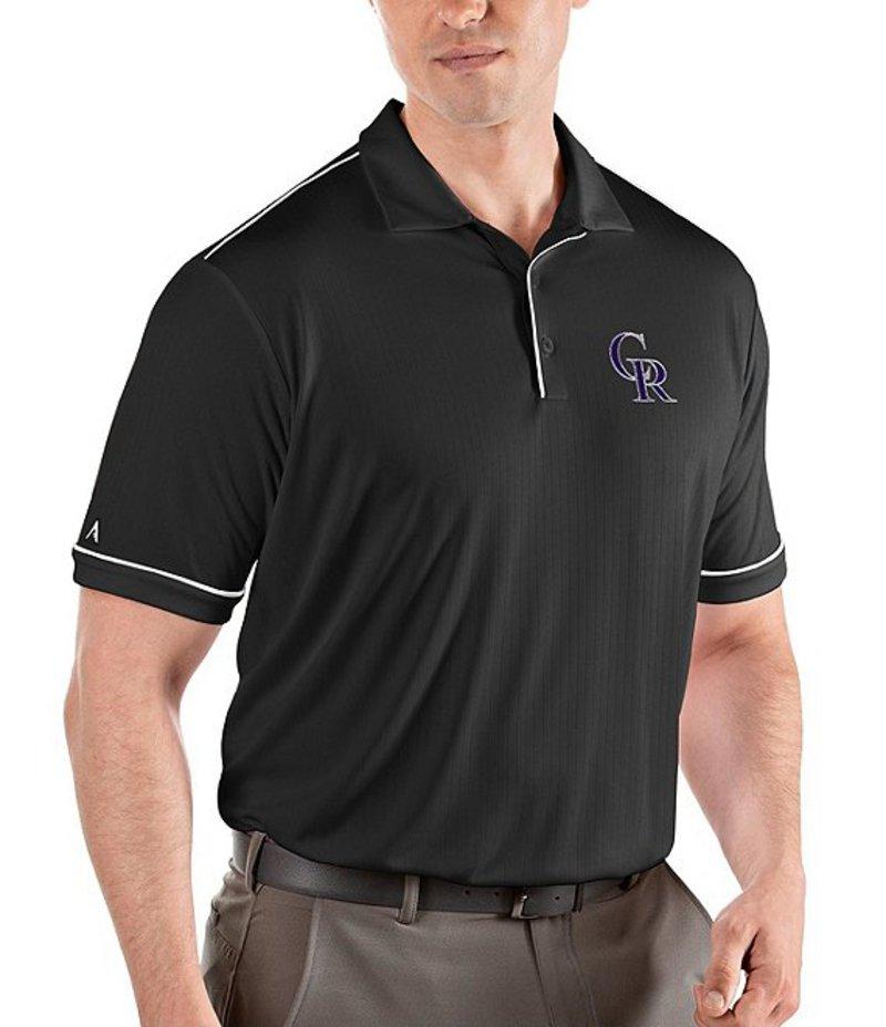 アンティグア メンズ シャツ トップス MLB National League Salute Short-Sleeve Polo Shirt Colorado Rockies Black