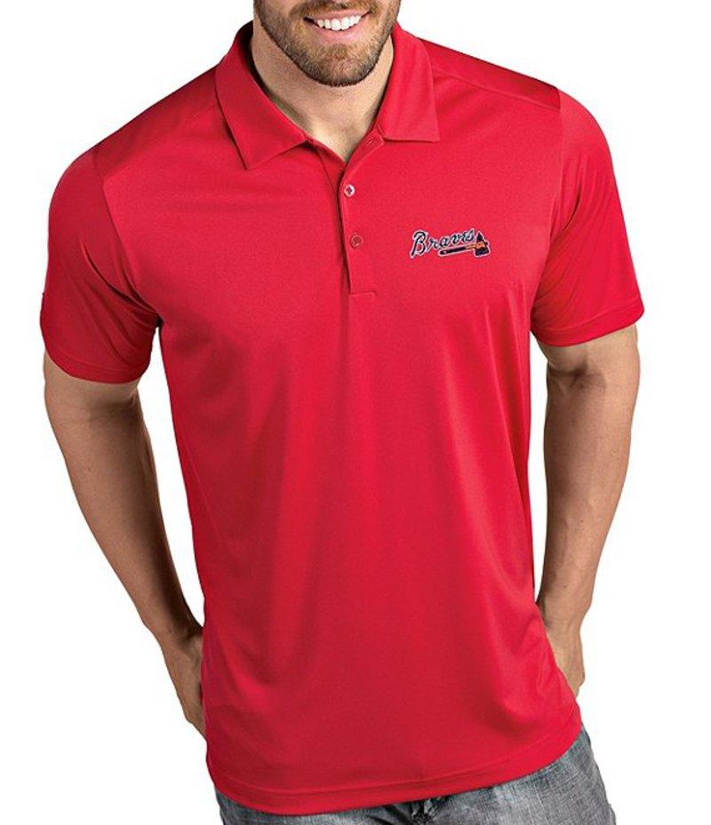 アンティグア メンズ シャツ トップス MLB National League Tribute Short-Sleeve Polo Shirt Atlanta Braves Dark Red
