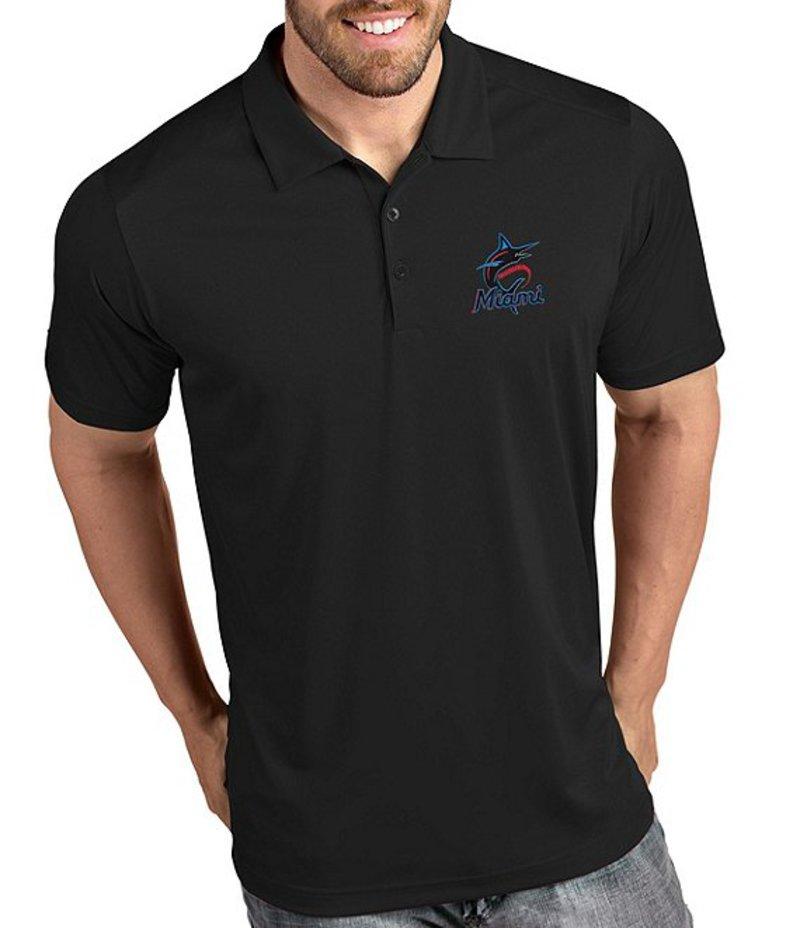アンティグア メンズ シャツ トップス MLB National League Tribute Short-Sleeve Polo Shirt Miami Marlins Black