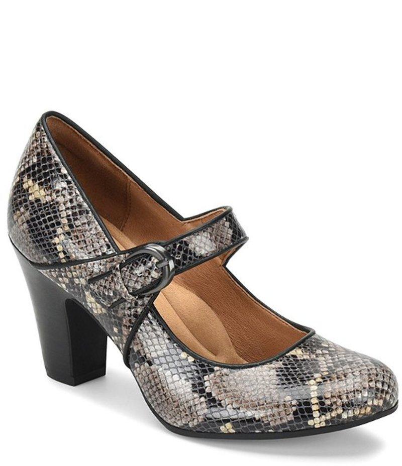 ソフト レディース ヒール シューズ Miranda Snake Print Leather Mary Jane Block Heel Pumps Grey Snake