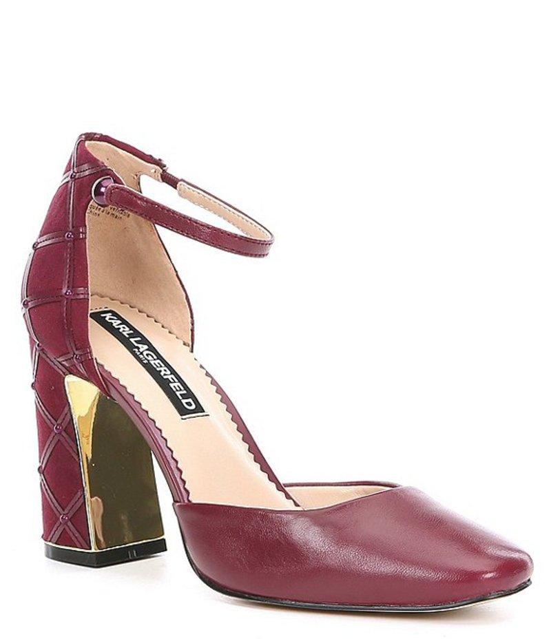 カール ラガーフェルド レディース ヒール シューズ Gracyn Leather Quilted Pearl Ankle Strap Block Heel Pumps Currant
