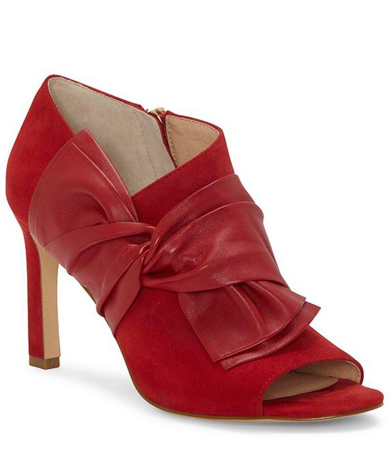 ルイスエシー レディース ブーツ・レインブーツ シューズ Idola Suede & Leather Bow Peep Toe Booties Candy Apple
