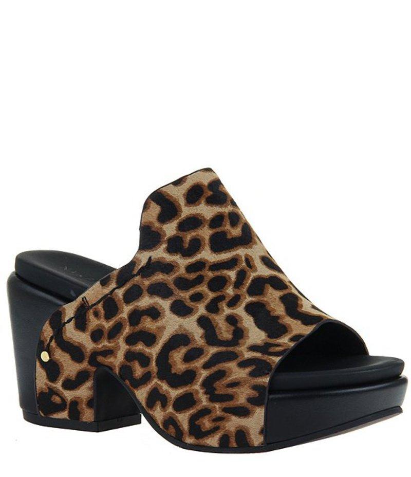 ネイキッドフィート レディース サンダル シューズ Corinth Leopard Print Leather Block Heel Mules Camel