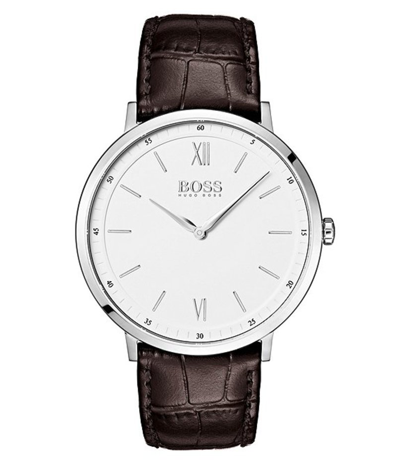 ヒューゴボス メンズ 腕時計 アクセサリー BOSS Hugo Boss Essential Ultra Slim Brown Croco Strap Watch Brown