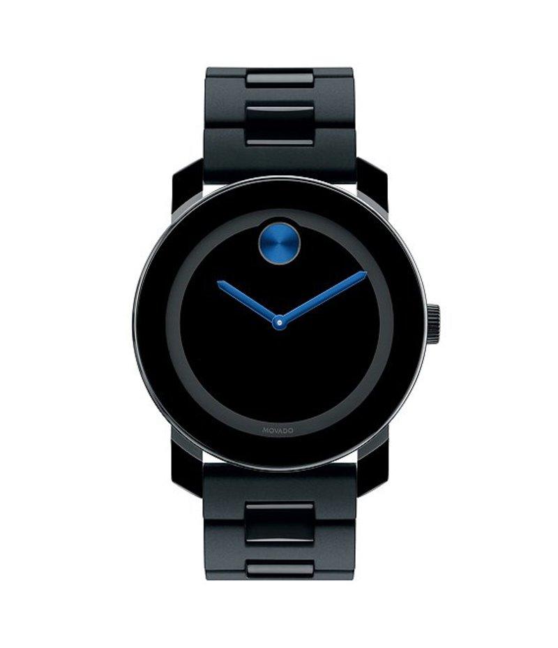 モバード メンズ 腕時計 アクセサリー Large Black & Cobalt Blue Analog Bracelet Watch BLACK
