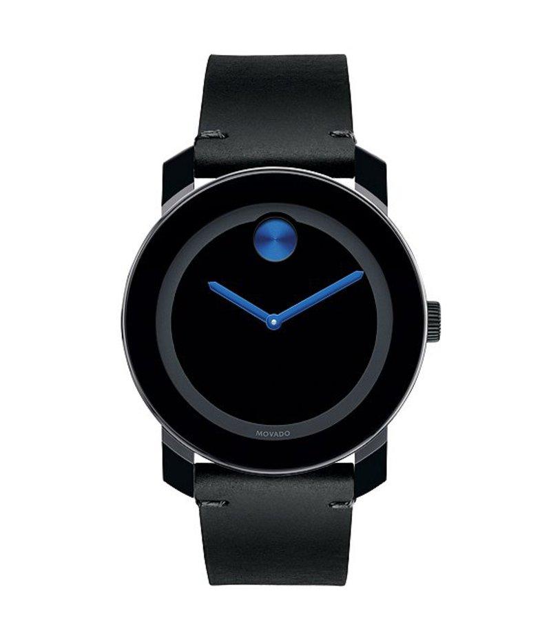 モバード メンズ 腕時計 アクセサリー Black Leather Strap Swiss Quartz Stainless Steel Analog Watch Black