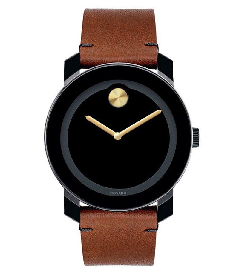 モバード メンズ 腕時計 アクセサリー Black & Brown Leather Analog Watch Black