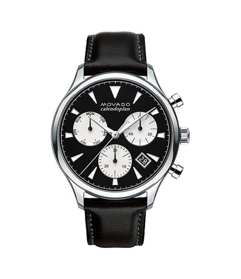 モバド メンズ 腕時計 アクセサリー Heritage Series Calendoplan Leather Strap Stainless Steel Chronograph Watch BLACK