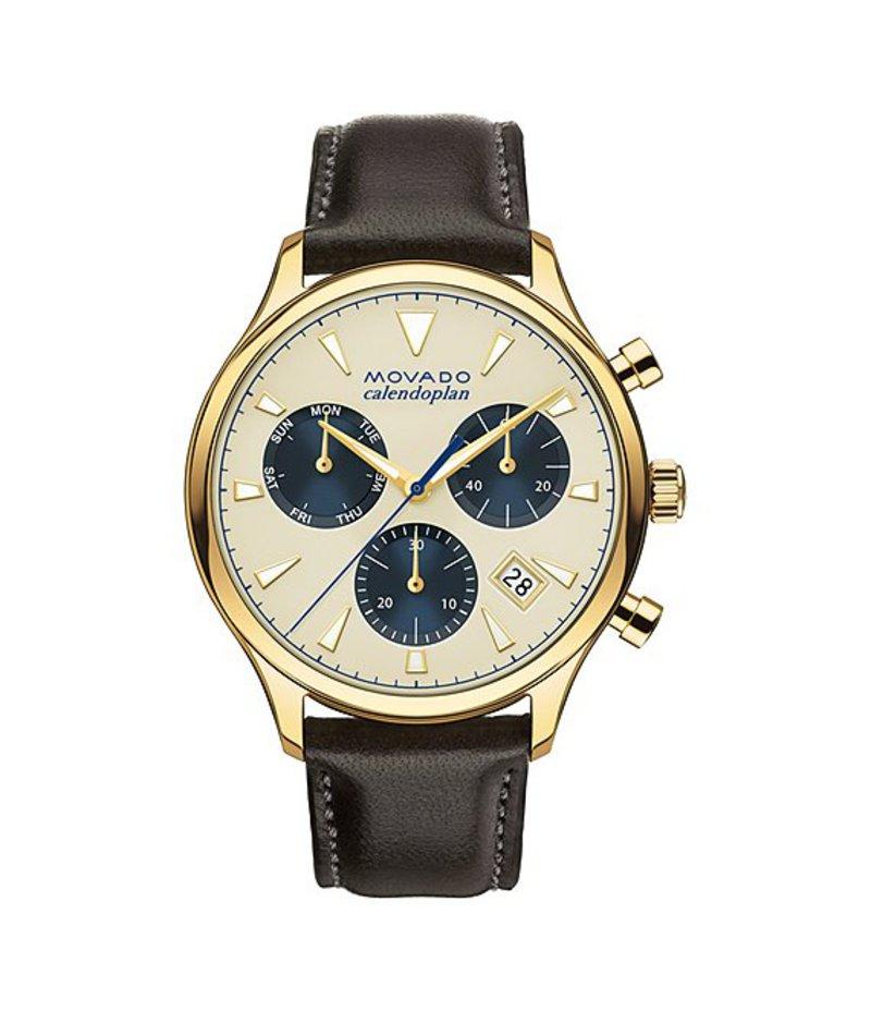 モバド メンズ 腕時計 アクセサリー Heritage Series Calendoplan Leather Strap Stainless Steel Luminescent Chronograph Watch brown