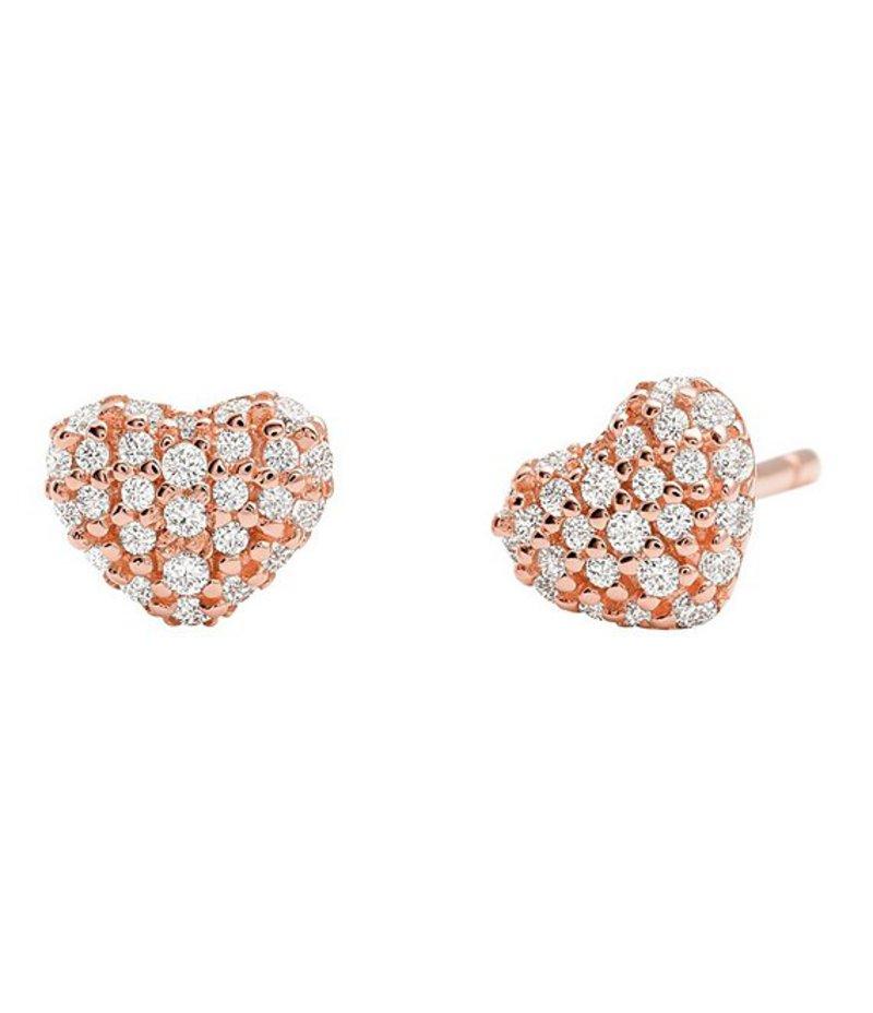マイケルコース レディース ピアス・イヤリング アクセサリー Kors Love Collection Sterling Silver Pave Heart Stud Earrings Rose Gold