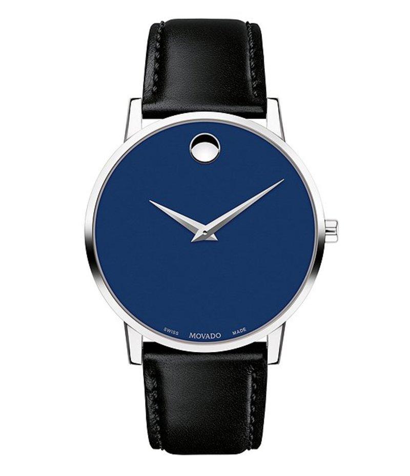 モバド メンズ 腕時計 アクセサリー Museum 40mm Classic Black Calfskin Strap Watch Black