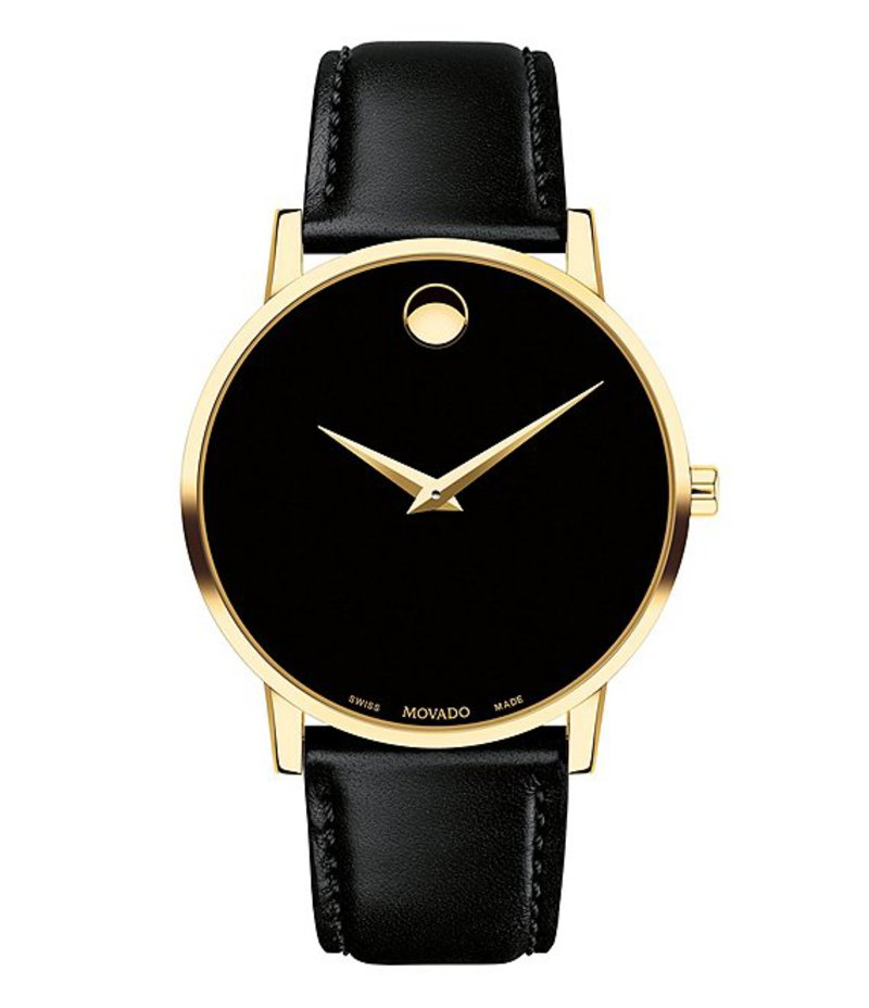 モバド メンズ 腕時計 アクセサリー Museum Classic Gold-Toned Case Black CalfSkin Watch Black