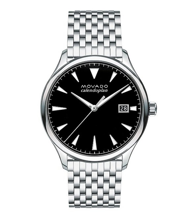 モバド メンズ 腕時計 アクセサリー Heritage Stainless Steel Silver Brick-Link Watch Black