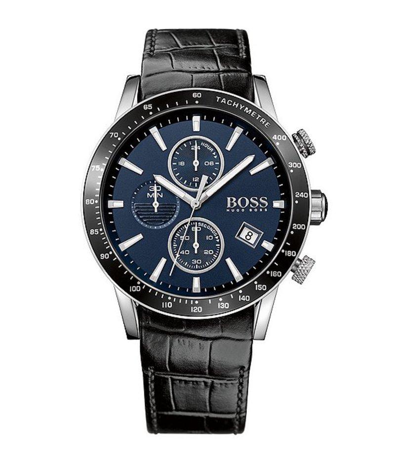 ヒューゴボス メンズ 腕時計 アクセサリー BOSS Hugo Boss Black Croco Leather Strap Blue Dial Chronograph Watch Black