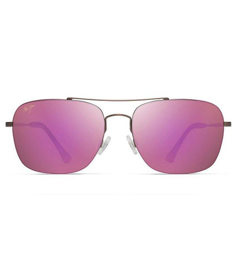 マウイジム レディース サングラス・アイウェア アクセサリー Lava Tube Polarized Aviator Sunglasses Satin Sepia