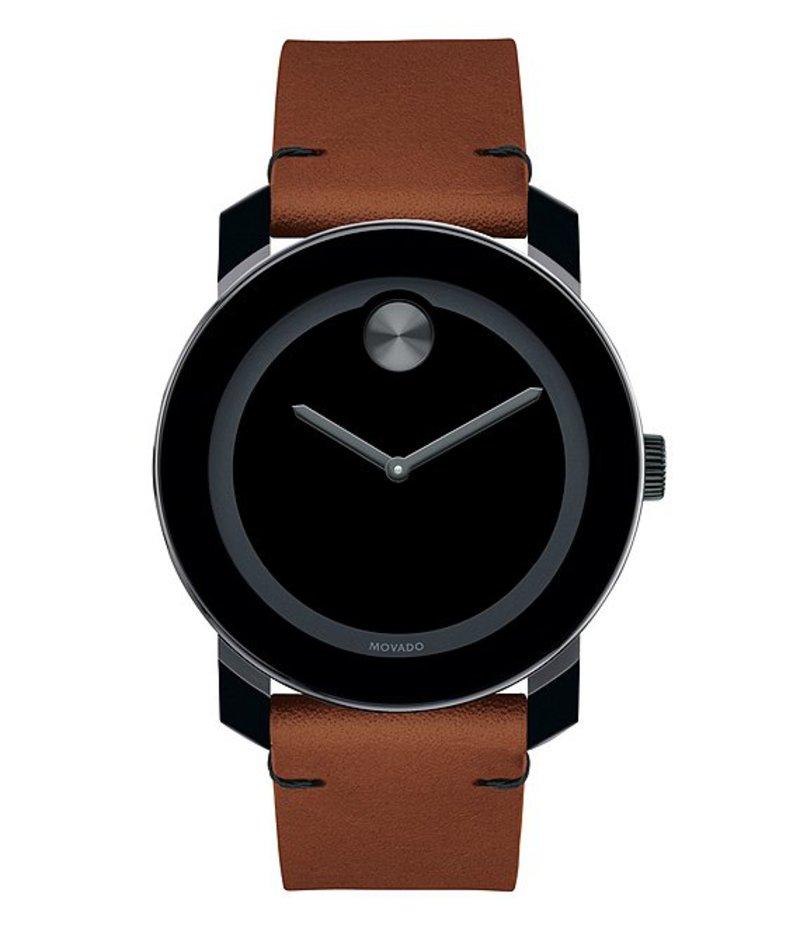 モバード メンズ 腕時計 アクセサリー Men's Interchangeable Strap Leather Watch Set Brown