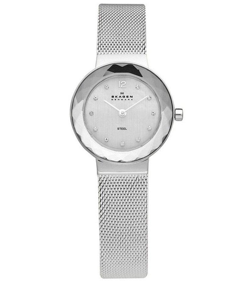 スカーゲン レディース 腕時計 アクセサリー Ladies Crystal Bezel Silvertone Stainless Steel Dress Watch Silver