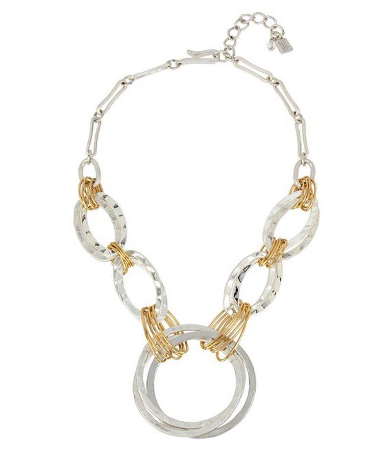 ロバート リー モーリス レディース ネックレス・チョーカー アクセサリー Wire-Wrapped Hammered Circle Frontal Statement Necklace Two Tone