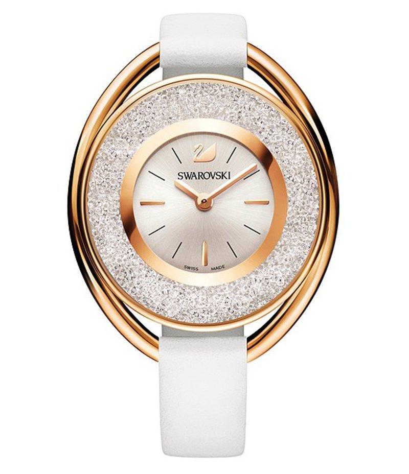 スワロフスキー レディース 腕時計 アクセサリー Crystalline Analog Leather-Strap Watch White